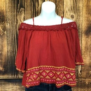 Flying Tomato - Red Cropped Off The Shoulder Top-M